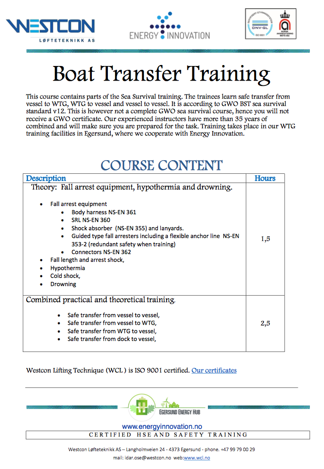 Boat Transfer Training - GWO