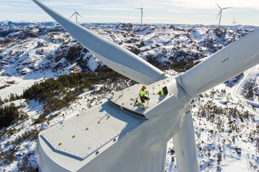 Service Technician on top of Turbine Egersund Wind Farm